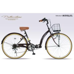 折りたたみ自転車26インチ マイパラス M-506-EB エボニーブラウン(My Pallas/タウンサイクル/レディサイクル/6段変速/6SP/折畳み自転車/折畳自転車/M506EB)|choice-ippinkan