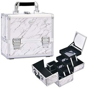 Hapilife プロ仕様 メイクボックス 大容量 コスメボックス 鏡付き 3段トレイ 化粧箱 ネイル収納 メイク道具 化粧品収納ボックス 鍵付き 化|choicestzakka