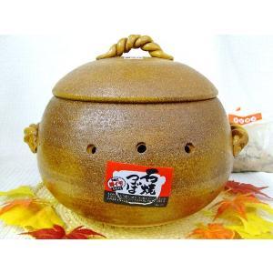 ★石焼き芋器 窯変石焼つぼ アメ釉(大サイズ) 萬古焼 石付き★国産陶器の焼き芋器です!07763|chokuhan