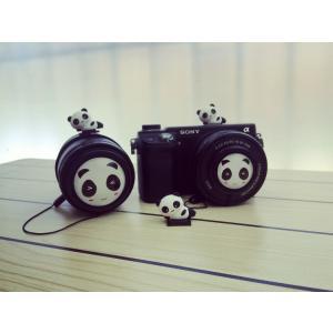 パンダ/汎用37mm/39mm/40.5mm/43mm/46mm/49mm/52mm/55mm/58mmカメラレンズキャップ/各種撮影機材対応/汎用レンズキャップストラップ付【メール便不可】|chokuten-shop