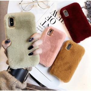 無地のiPhone X iPhone8 Plus/7 Plus iPhone 8/7用背面カバー スマホファーケース ふわふわ もこもこMIXファー ファッション 暖かいプレゼント|chokuten-shop