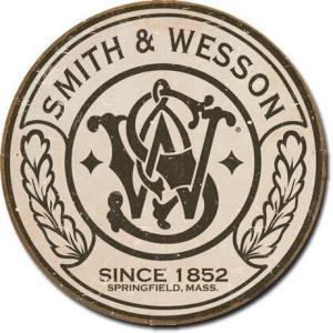 ブリキ看板 Smith & Wesson (1608) スミス&ウェッソン ラウンド サインプレート サインボード アメリカ雑貨 アメリカン雑貨|choppers