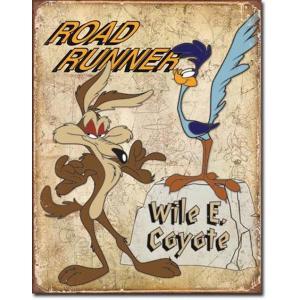 ブリキ看板 Road Runner & Wyle E Coyote 1888 ロードランナー コヨーテ ティンプレート サインプレート|choppers