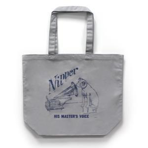 ビクター ニッパー ヴィンテージ風 キャンバス トートバッグ グレー VICTOR NIPPER ビクター犬 GRAY 正規ライセンス商品|choppers