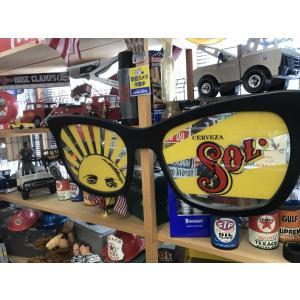 CERVEZA SOL サングラス デザイン パブ ミラー メキシコ ビール 本物看板 ヴィンテージ アメリカン雑貨|choppers