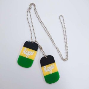 ジャマイカカラー プレート reggae ロゴ キーホルダー ドッグタグ ネックレス セット レゲエ ジャマイカ|choppers
