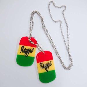 ラスタカラー プレート reggae ロゴ キーホルダー ネックレス セット レゲエ ジャマイカ ラスタ|choppers