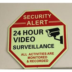 アメリカ セキュリティ 看板 防犯カメラ グローインザダーク 蓄光 8角形 サイン アメリカ製 アメリカン雑貨 アメ雑|choppers