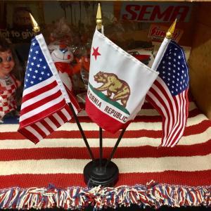 デスクトップ フラッグ 星条旗2本 カリフォルニア州旗1本 卓上 アメリカ雑貨 アメリカン雑貨 choppers