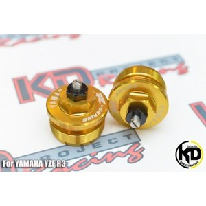 KD PROJECT RACING ヤマハ YZF-R25 MT-25 フロントフォーク トップ カバー 左右セット ゴールド|chops-webshop