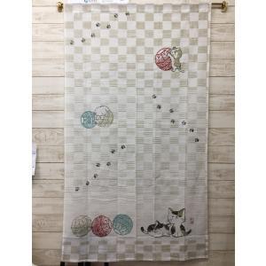 のれん ロング おしゃれ 和風 ネコ ねこ 猫  令和 約85×150|choro-aki