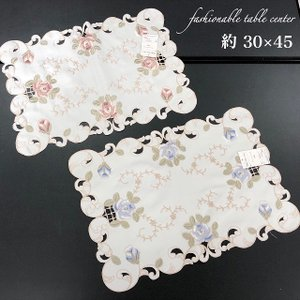 テーブルセンター レース 刺繍 ピンク ブルー 約30×45|choro-aki
