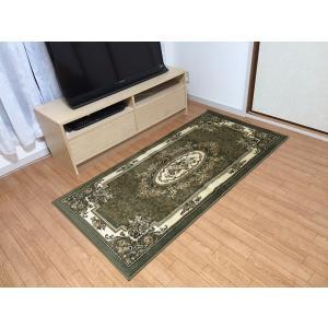 廊下敷き カーペット おしゃれ 絨毯 赤 緑  ヨーロピアンカーペット 約80×240cm|choro-aki