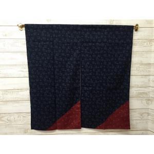 暖簾 のれん 間仕切り 和風柄 和柄 綿 シンプル 紺 ネイビー 赤 レッド 日本製 約85×90cm |choro-aki