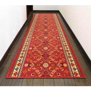 廊下敷きカーペット おしゃれ 絨毯 赤  レッド  約80×180|choro-aki