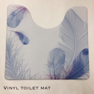トイレマット ビニール 拭ける 羽 ブルー 在庫限り 処分|choro-aki
