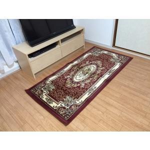 廊下敷き カーペット おしゃれ 絨毯 赤 緑 レッド グリーン カーキ ヨーロピアンカーペット 約80×160cm|choro-aki