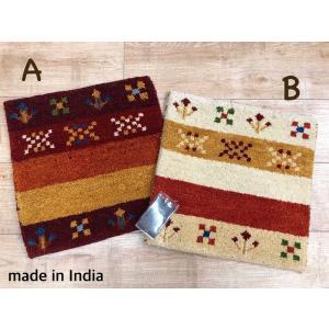 マット 手織り 小さいマット ギャベ インドギャベ タジギャベ インド ウール ボーダー |choro-aki