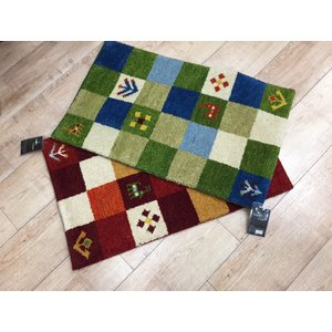 玄関マット マット タジギャベ ウール インド カラフル ブロック 手織りマット|choro-aki