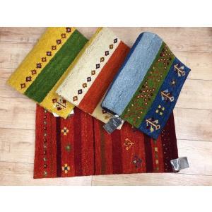 玄関マット マット タジギャベ ウール インド カラフル ボーダー 手織りマット|choro-aki