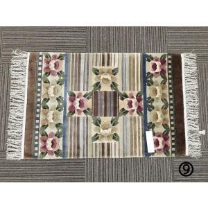 玄関マット シルク 送料無料上品 上質シルク 緞通 手織り 花柄 絹 約60x90cm (9) choro-aki