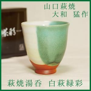 山口萩焼 萩焼湯呑 茶彩「白萩緑彩」 大和猛作 化粧箱付き|choshuen-y