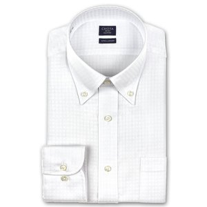 ワイシャツ Yシャツ メンズ 長袖   CHOYA SHIRT FACTORY   白ドビーチェック ボタンダウンシャツ choyashirts
