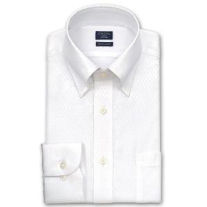 ワイシャツ Yシャツ メンズ 長袖 | CHOYA SHIRT FACTORY | 市松柄白ドビー スナップダウンシャツ おしゃれ|choyashirts