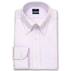ワイシャツ Yシャツ メンズ 長袖 | CHOYA SHIRT FACTORY | パープルのペンシルストライプ ボタンダウンシャツ おしゃれ|choyashirts