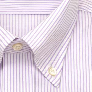 ワイシャツ Yシャツ メンズ 長袖   CHOYA SHIRT FACTORY   パープルのペンシルストライプ ボタンダウンシャツ おしゃれ choyashirts 03