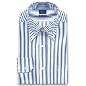 ワイシャツ Yシャツ メンズ 長袖   CHOYA SHIRT FACTORY   ブルーのロンドンストライプ ボタンダウンシャツ おしゃれ 父の日 プレゼント ギフト 父親 お父さん choyashirts