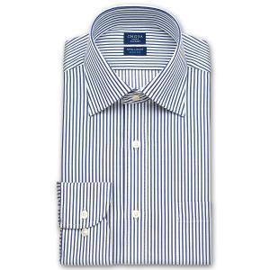 ワイシャツ Yシャツ メンズ 長袖 | CHOYA SHIRT FACTORY スリムフィット | ネイビーのロンドンストライプ ワイドカラーシャツ|choyashirts