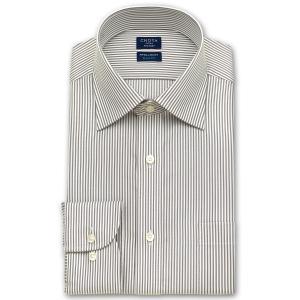 ワイシャツ Yシャツ メンズ 長袖 | CHOYA SHIRT FACTORY スリムフィット | ブラウンのロンドンストライプ ワイドカラーシャツ|choyashirts