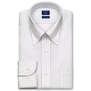 ワイシャツ Yシャツ メンズ 長袖 | CHOYA SHIRT FACTORY | COOL CONSCIOUS 綿100% 形態安定加工 グレードビーストライプ ボタンダウン おしゃれ|choyashirts