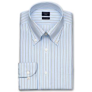 ワイシャツ Yシャツ メンズ 長袖 | CHOYA SHIRT FACTORY | COOL CONSCIOUS 綿100% 形態安定加工 ダブルストライプ ボタンダウンシャツ おしゃれ|choyashirts