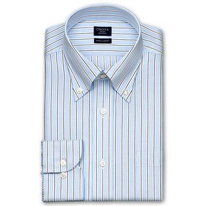 CHOYA SHIRT FACTORY・COOL CONSCIOUS・綿100%・形態安定加工・長袖・ダブルストライプ・ボタンダウンシャツ choyashirts