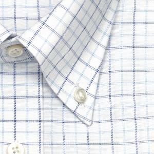 ワイシャツ Yシャツ メンズ 長袖 | CHOYA SHIRT FACTORY | COOL CONSCIOUS 綿100% 形態安定加工 ブルーとネイビーのチェック柄 ボタンダウンシャツ おしゃれ|choyashirts|03