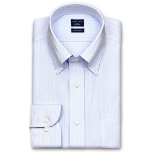 ワイシャツ Yシャツ メンズ 長袖 | CHOYA SHIRT FACTORY | COOL CONSCIOUS 綿100% 形態安定加工 ブルードビーストライプ スナップダウンシャツ おしゃれ|choyashirts
