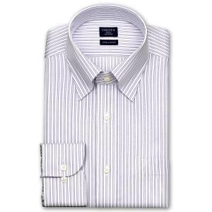 ワイシャツ Yシャツ メンズ 長袖 | CHOYA SHIRT FACTORY | COOL CONSCIOUS 綿100% 形態安定加工 パープルストライプ スナップダウンシャツ おしゃれ|choyashirts