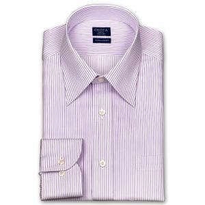 ワイシャツ Yシャツ メンズ 長袖 | CHOYA SHIRT FACTORY | 綿100% 形態安定加工 ピンクストライプ レギュラーカラー おしゃれ|choyashirts
