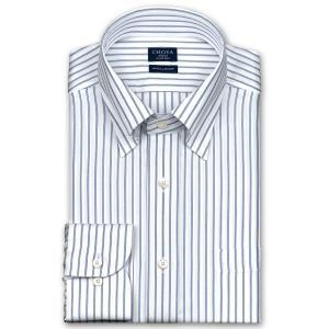 ワイシャツ Yシャツ メンズ 長袖 | CHOYA SHIRT FACTORY | 綿100% 形態安定加工 ブルーストライプ スナップダウン おしゃれ|choyashirts