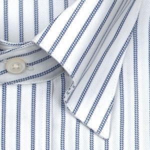 ワイシャツ Yシャツ メンズ 長袖 | CHOYA SHIRT FACTORY | 綿100% 形態安定加工 ブルーストライプ スナップダウン おしゃれ|choyashirts|03