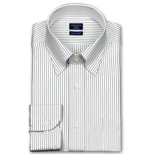 ワイシャツ Yシャツ メンズ 長袖 | CHOYA SHIRT FACTORY | 綿100% 形態安定加工 ピンストライプ スナップダウン おしゃれ|choyashirts