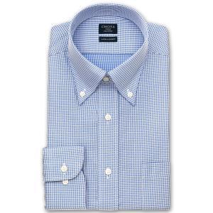 ワイシャツ Yシャツ メンズ 長袖   CHOYA SHIRT FACTORY   形態安定 ブルー千鳥格子 ボタンダウン おしゃれ 父の日 プレゼント ギフト 父親 お父さん choyashirts