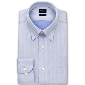 ワイシャツ Yシャツ メンズ 長袖 | CHOYA SHIRT FACTORY | 形態安定 ブルーヘリンボーンストライプ スナップダウン おしゃれ|choyashirts