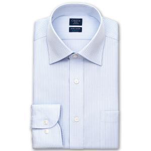 ワイシャツ Yシャツ メンズ 長袖 | CHOYA SHIRT FACTORY | 形態安定 ブルードビーストライプ ワイドカラー|choyashirts