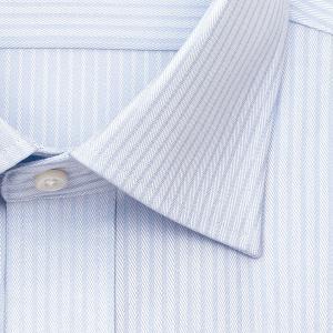 ワイシャツ Yシャツ メンズ 長袖 | CHOYA SHIRT FACTORY | 形態安定 ブルードビーストライプ ワイドカラー|choyashirts|03