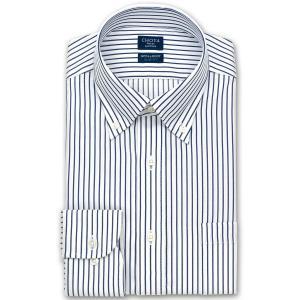 ワイシャツ Yシャツ メンズ 長袖 | CHOYA SHIRT FACTORY | 形態安定 ネイビーロンドンストライプ ボタンダウン|choyashirts