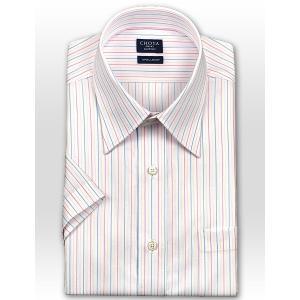 ワイシャツ Yシャツ メンズ 半袖 | CHOYA SHIRT FACTORY | 綿100% 形態安定加工 マルチカラーストライプ レギュラーカラー おしゃれ|choyashirts