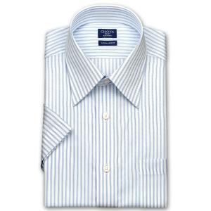 ワイシャツ Yシャツ メンズ 半袖 | CHOYA SHIRT FACTORY | 形態安定加工 ブルートーンストライプ レギュラーカラーシャツ おしゃれ|choyashirts